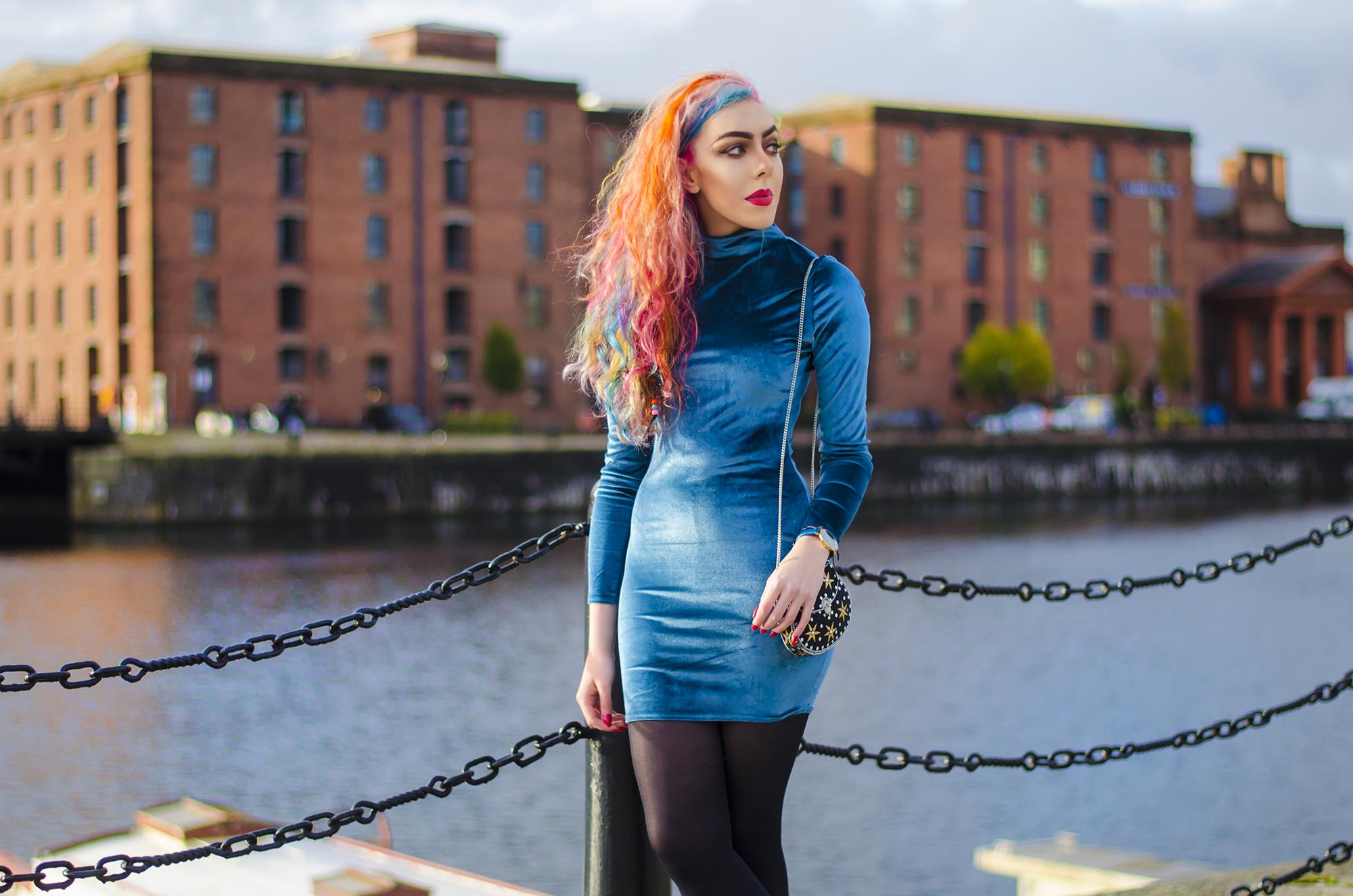 Stephi LaReine rainbow fashion blogger from liverpool wearing blue velvet dress