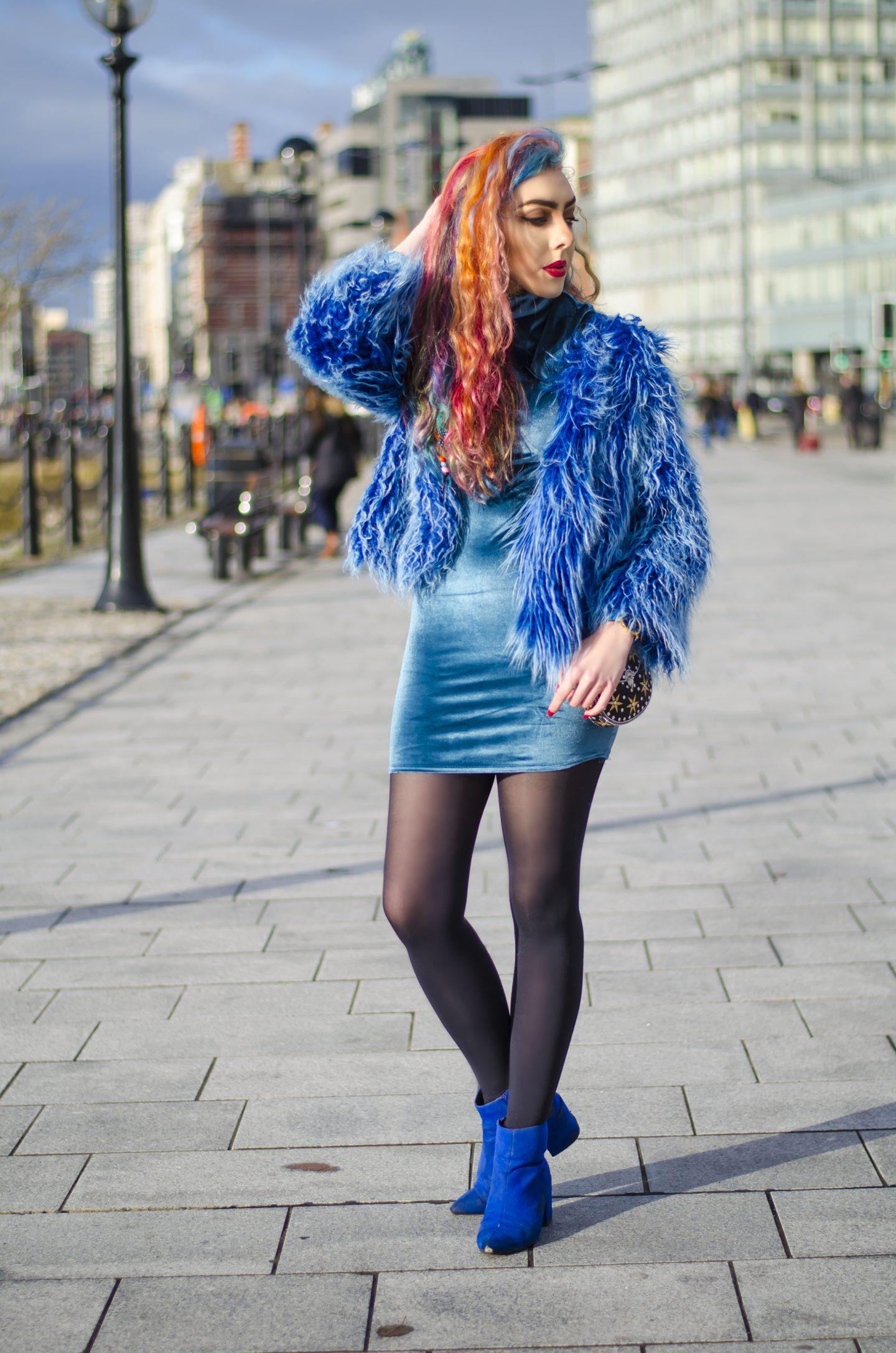 Long hair blue fur jacket from style blogger Stephi LaReine