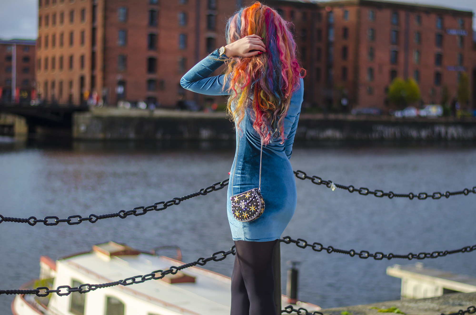 rainbow hair style blogger Stephi LaReine on Albert Dock Liverpool