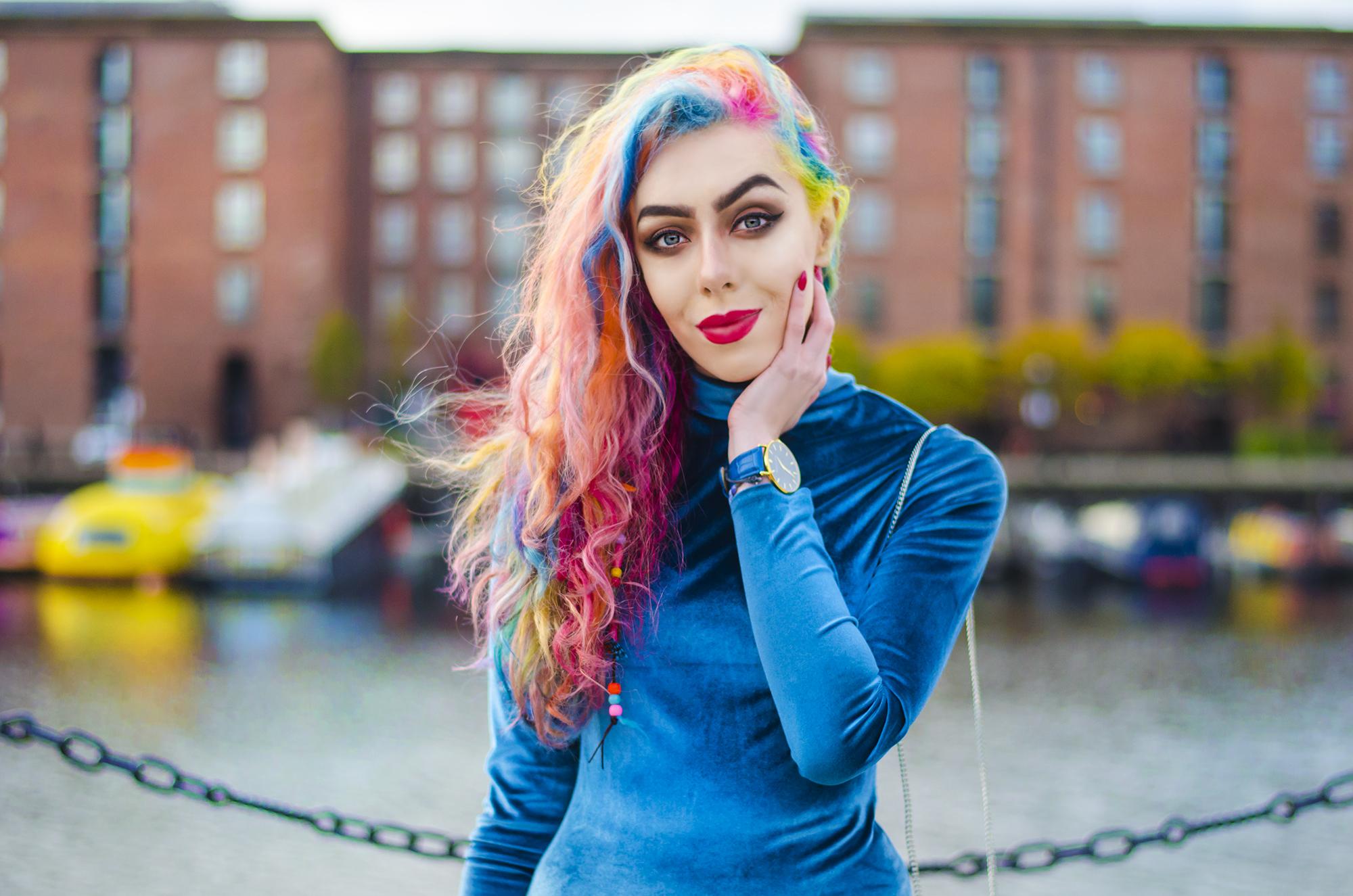 Stephi LaReine rainbow curly hair style blogger wearing blue velvet asos dress