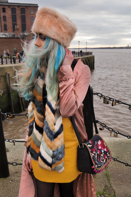 Stephi LaReine pink cossack hat missguided scarf mustard skirt pink silk jacket