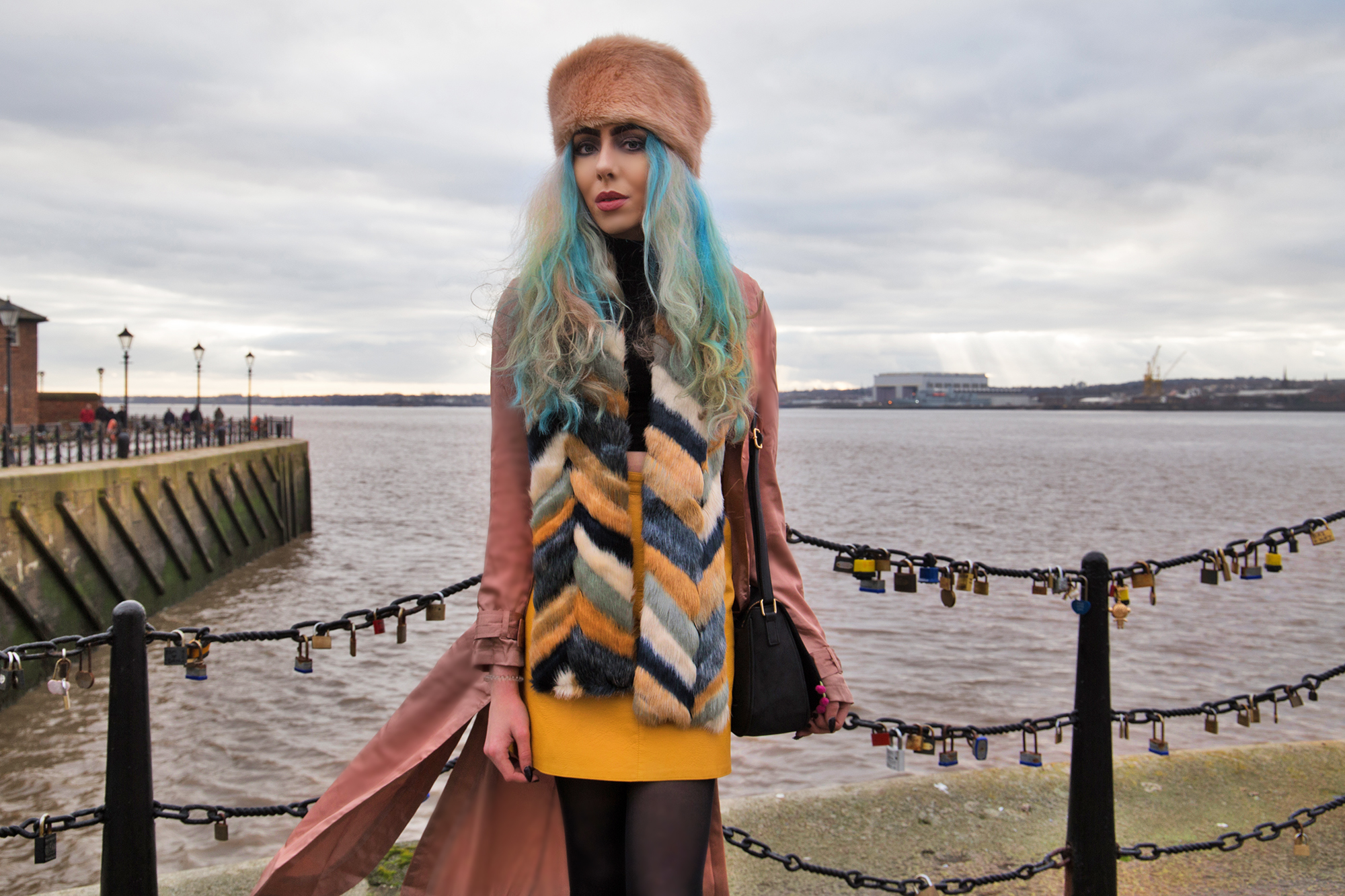 Stephi LaReine Style Blogger Blue Hair Pink Cossack Hat Missguided