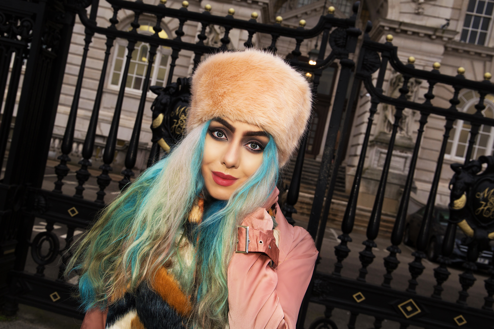 Stephi LaReine Fashion Blogger wears pink cossack hat with blue hair