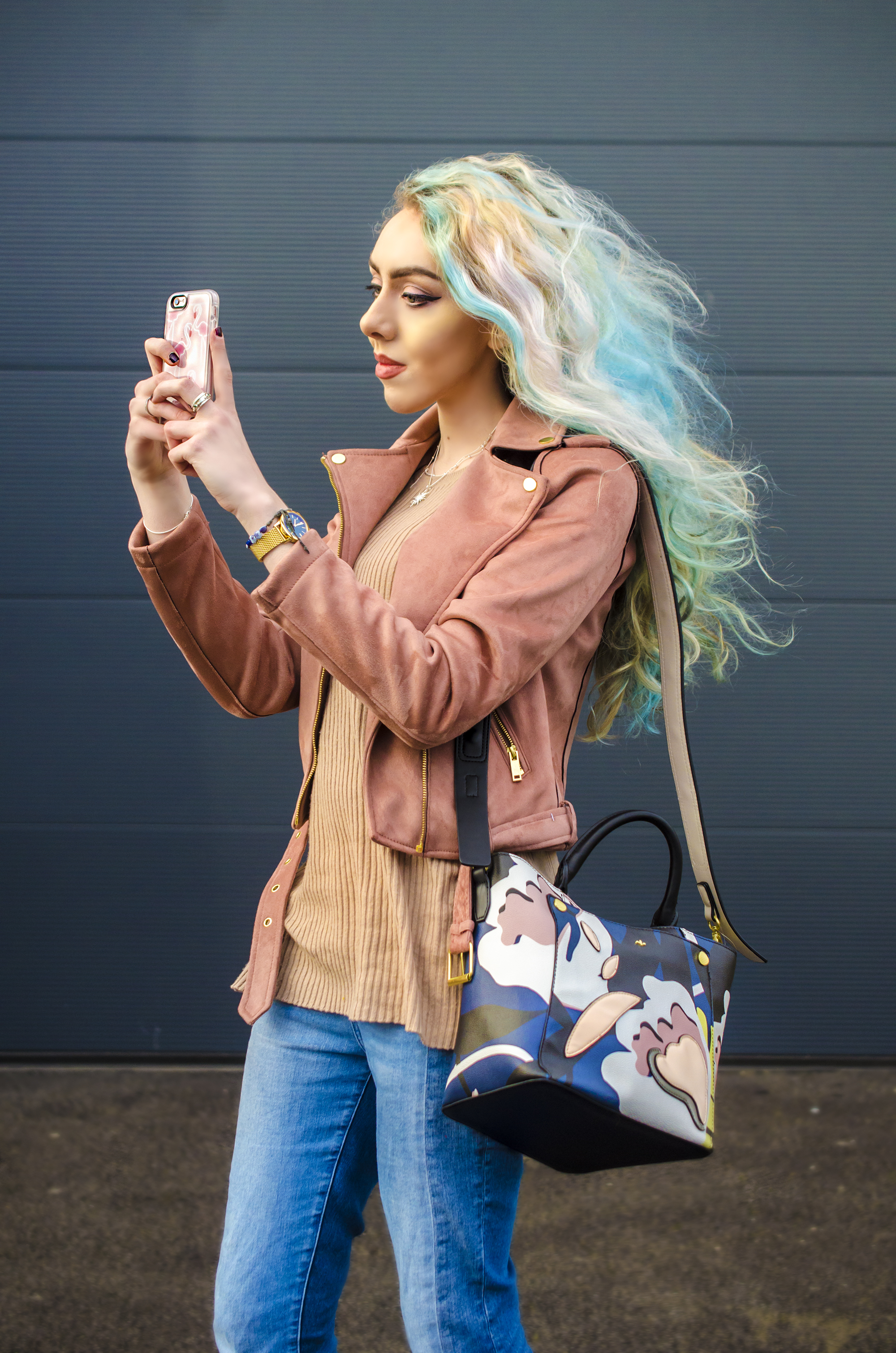 Stephi LaReine Rainbow Hair Selfie