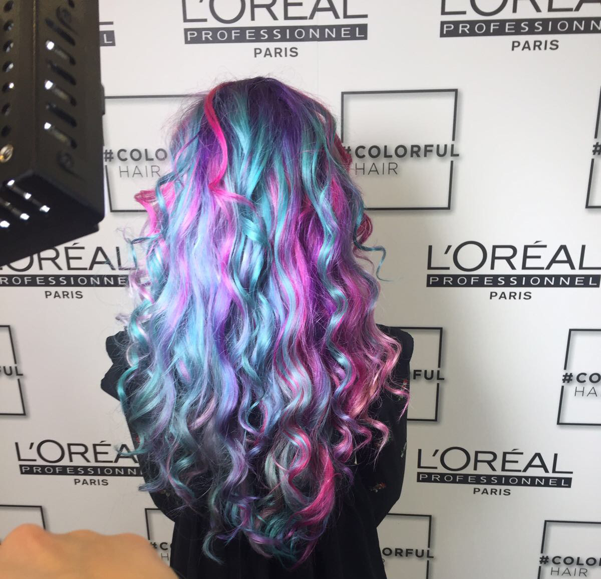 L'Oreal Blogger Stephi LaReine rainbow hair