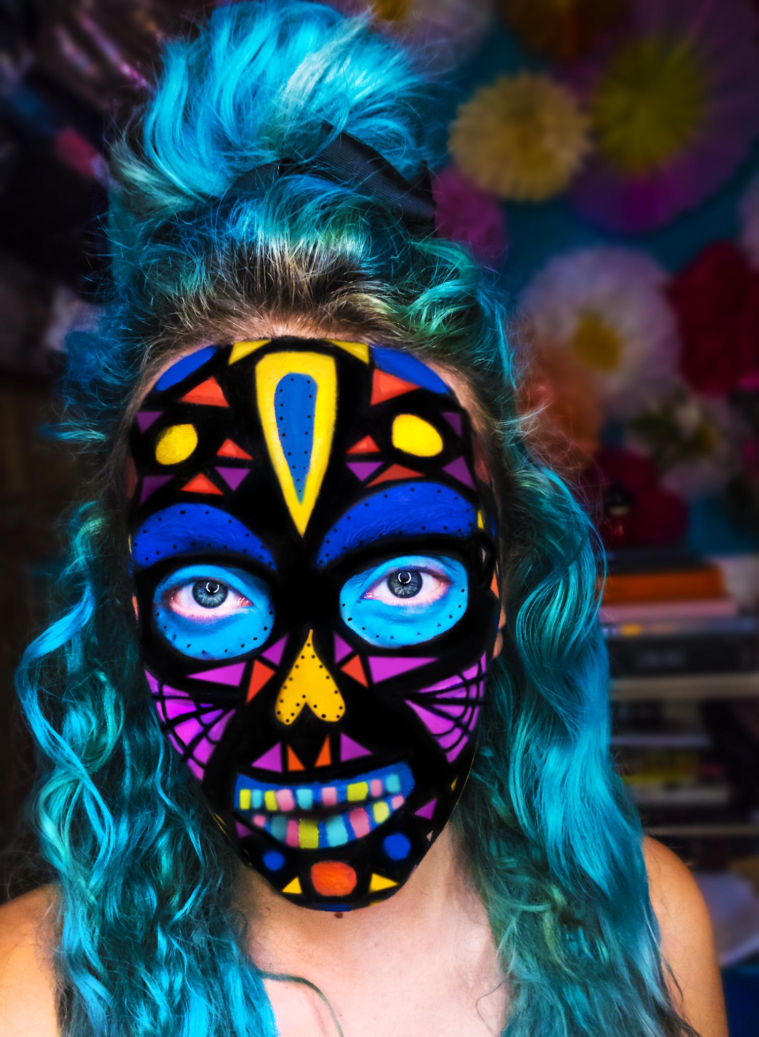 Stephi LaReine Halloween Mosaic Candy Skull Skeleton Makeup