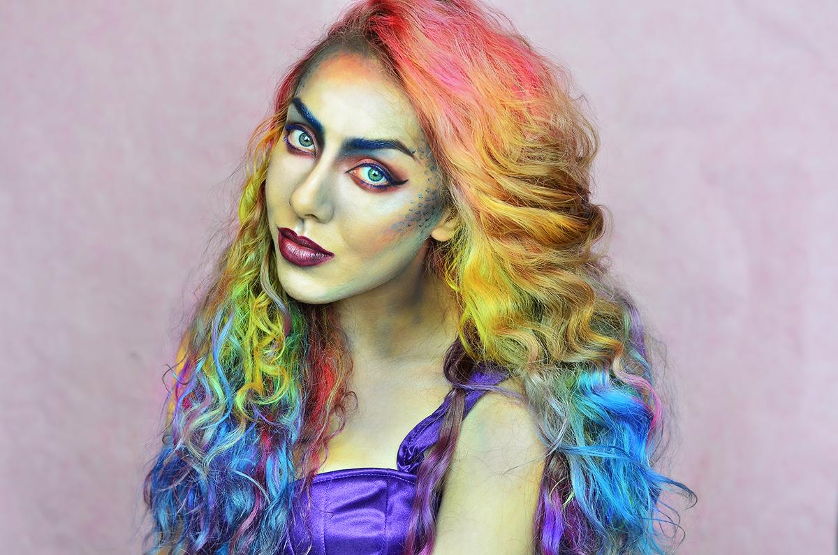 Stephi LaReine Halloween Mermaid Makeup Rainbow Hair