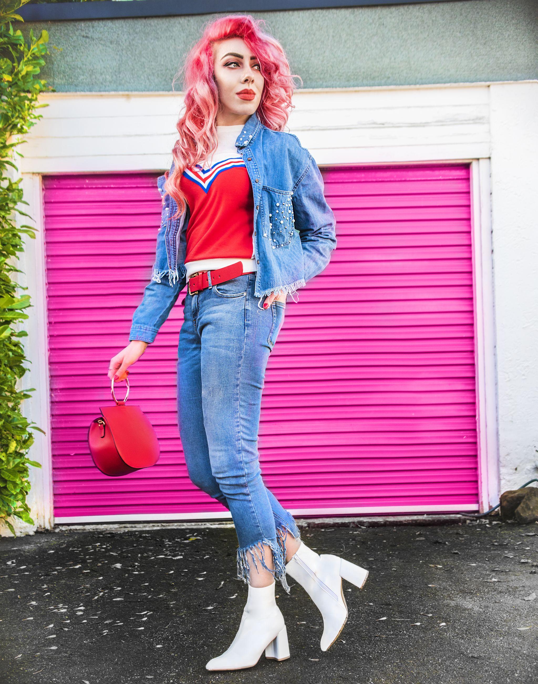denim shirt jeans pink hair blog stephi lareine liverpool primark blogger