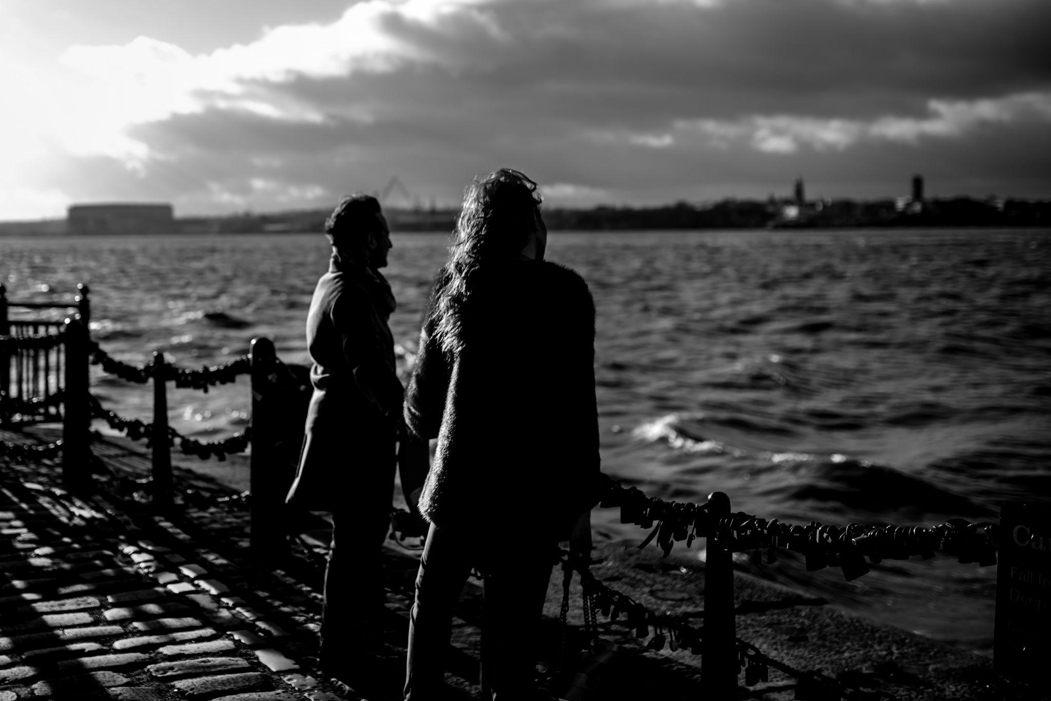 Stephi LaReine and boyfriend Patrick Mcguinness black and white photo on albert dock liverpool